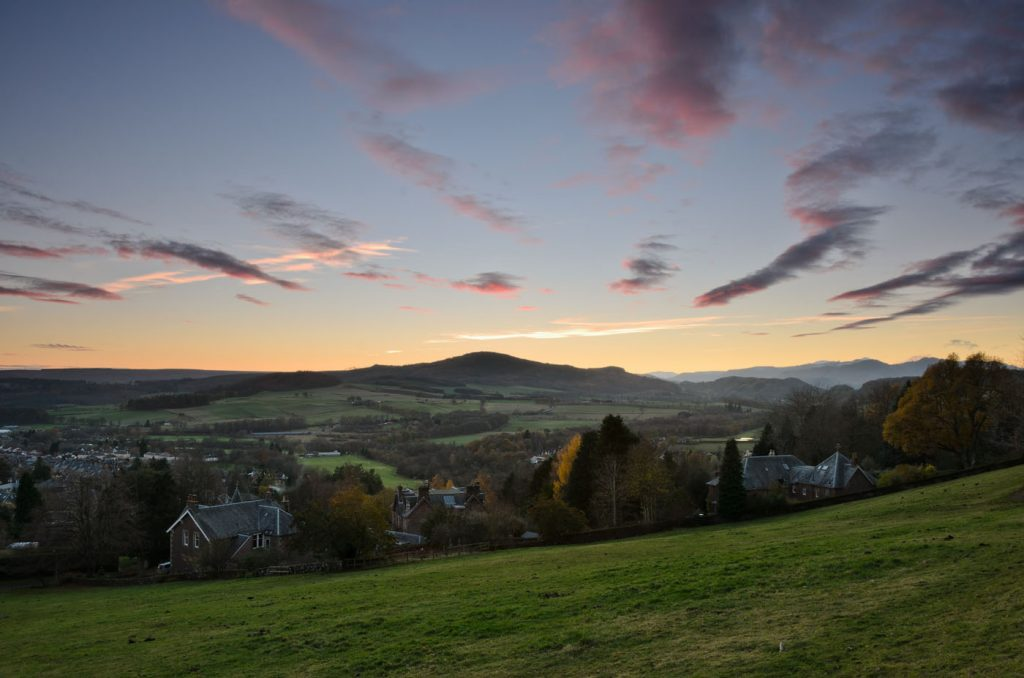 Sunset over Crieff and Torlum